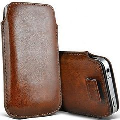 Θήκη Pouch Leather Skin για Apple iPhone 4 4S - ΚΑΦΕ