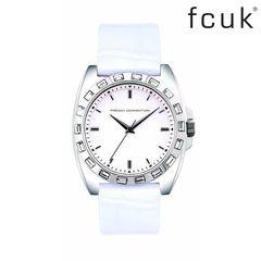 5b286ffc822 Γυναικείο ρολόι French Connection με πέτρες ζιργκόν (τεχνητό διαμάντι) και  λευκό δερμάτινο λουράκι.