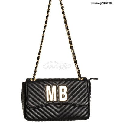 9891263a8cc Τσάντα ώμου με χρυσή αλυσίδα με επιγραφή ''ΜΒ'' (Μαύρο) - € 30 - Car.gr