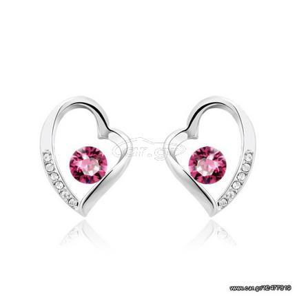 Σκουλαρίκια καρδιά Επιπλατινωμένα dbf80c9c109