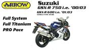 SUZUKI GSXR 750 00-02 FULL SYSTEM ARROW TITANIUM EXHAUST RAC...