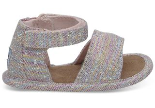 TOMS Pink Multi Twill Glimmer Tiny Shiloh Παιδικά πέδιλα 10011541