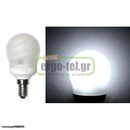 Λάμπα οικονομίας σφαιρική E14 9W(απόδοση 45W) 230V 6400K ψυχρό λευκό φως με  διάρκεια 8000h  dedf5dd4939