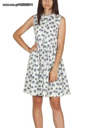 a7fd7d4d9228 Migle + me αμάνικο σεμιζιέ φόρεμα λευκό με φοίνικες - la-dr544 ...
