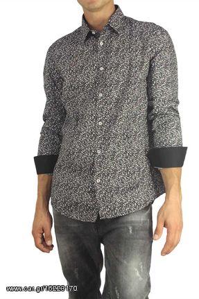 ea0f909df7dc Missone ανδρικό πουκάμισο μαύρο με γκρι-λευκό πριντ - 944-50 - € 29 ...