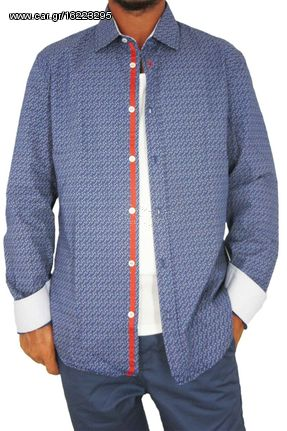 a67fc894ffd8 Missone ανδρικό πουκάμισο μπλε με πουά κυκλάκια - ms-701 - € 26 EUR ...