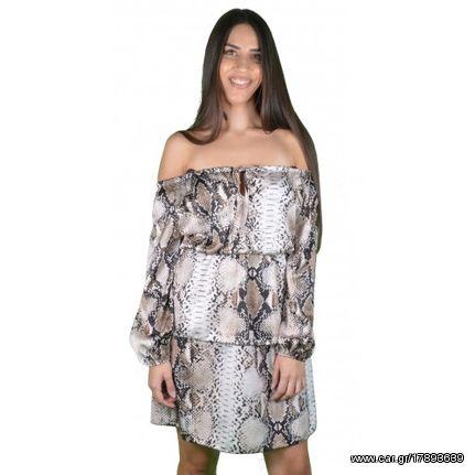 e0ad83e3ec92 Γυναικείο Φόρεμα Μπεζ Μαύρο Ντεσεν Φίδι - € 19 EUR - Car.gr