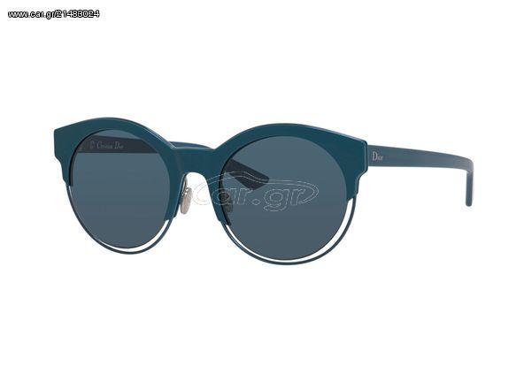 484ff14775 Γυναικεία Γυαλιά Ηλίου Christian Dior με Πλαστικό Σκελετό σε Πετρόλ Χρώμα  και Στρογγυλούς Μπλε φακούς με προστασία UV