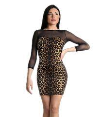 0cb41d09bf84 Μαύρο μίνι φόρεμα με λεοπάρ pattern