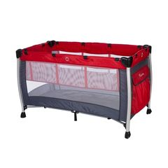 d197f73c7ed Baby Adventure Παρκοκρέβατο 2 Θέσεων Holiday Aluminium, Grey Red 60*120cm