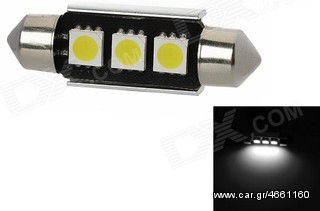 Led Canbus Σωληνωτό 3 SMD White 39mm....Sound☆Street....